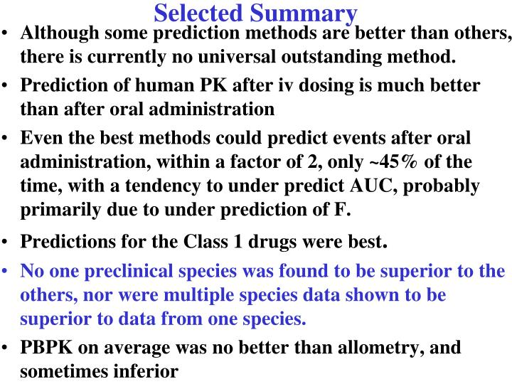 Selected Summary