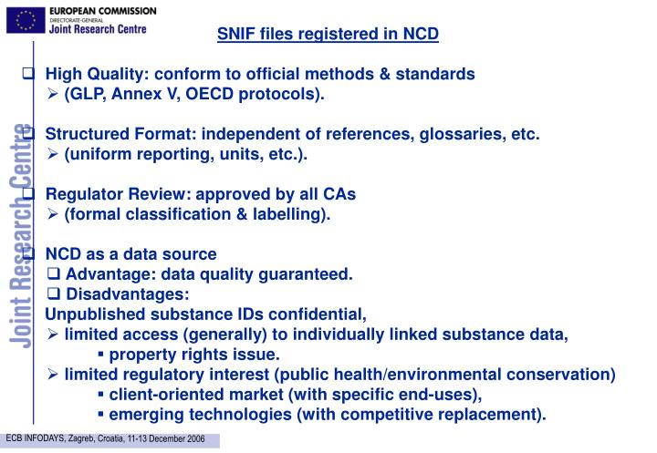 SNIF files registered in NCD