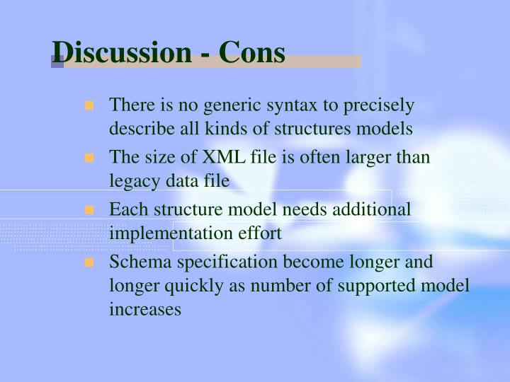 Discussion - Cons
