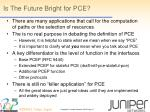 is the future bright for pce