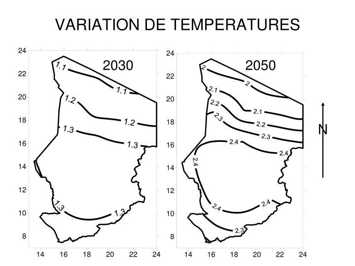 VARIATION DE TEMPERATURES