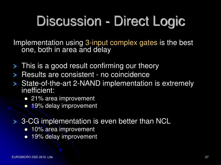 Discussion - Direct Logic