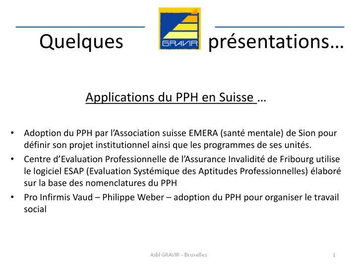 Applications du PPH en Suisse
