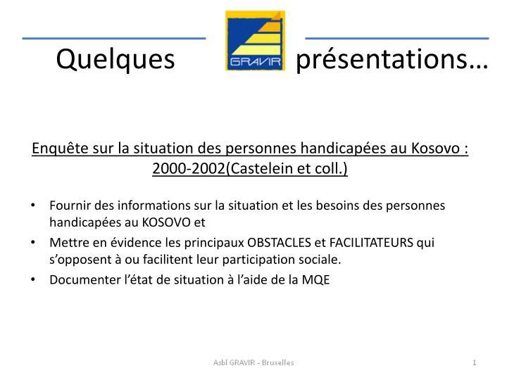 Enquête sur la situation des personnes handicapées au Kosovo : 2000-2002(Castelein et coll.)