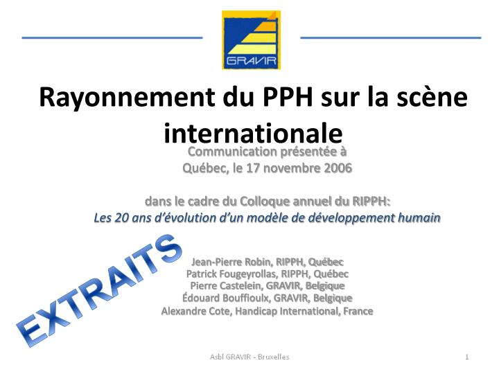 rayonnement du pph sur la sc ne internationale