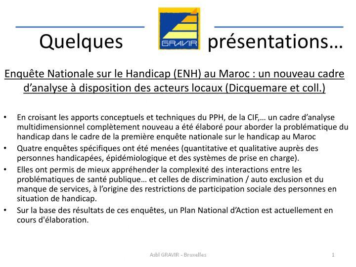 Enquête Nationale sur le Handicap (ENH) au Maroc : un nouveau cadre d'analyse à disposition des acteurs locaux (Dicquemare et coll.)