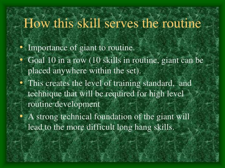 How this skill serves the routine