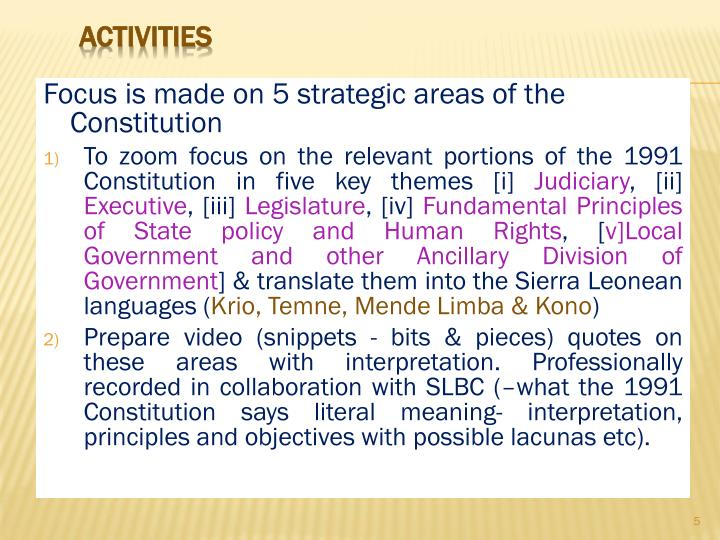 Focus is made on 5 strategic areas of the Constitution