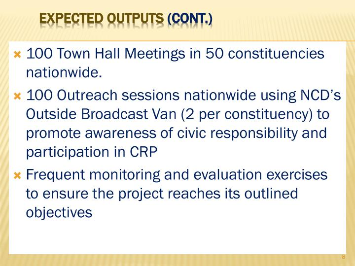 100 Town Hall Meetings in 50 constituencies nationwide.