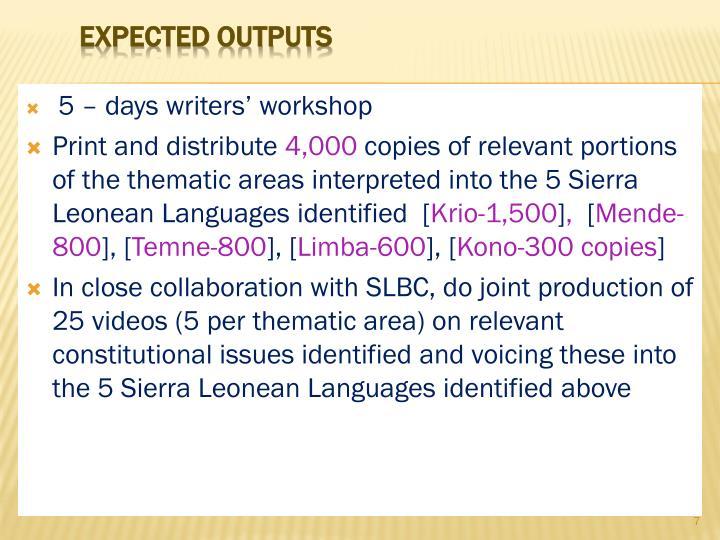 5 – days writers' workshop