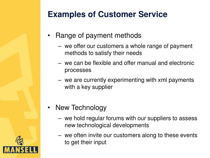 Examples of Customer Service