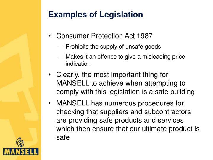 Examples of Legislation