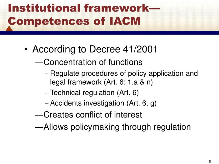 Institutional framework—Competences of IACM