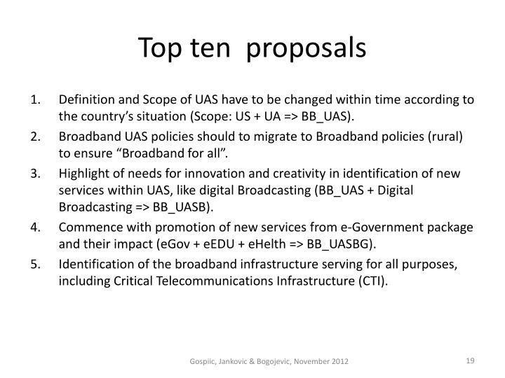 Top ten  proposals
