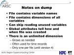 notes on dump