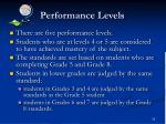 performance levels1