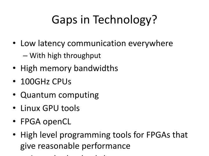 Gaps in Technology?