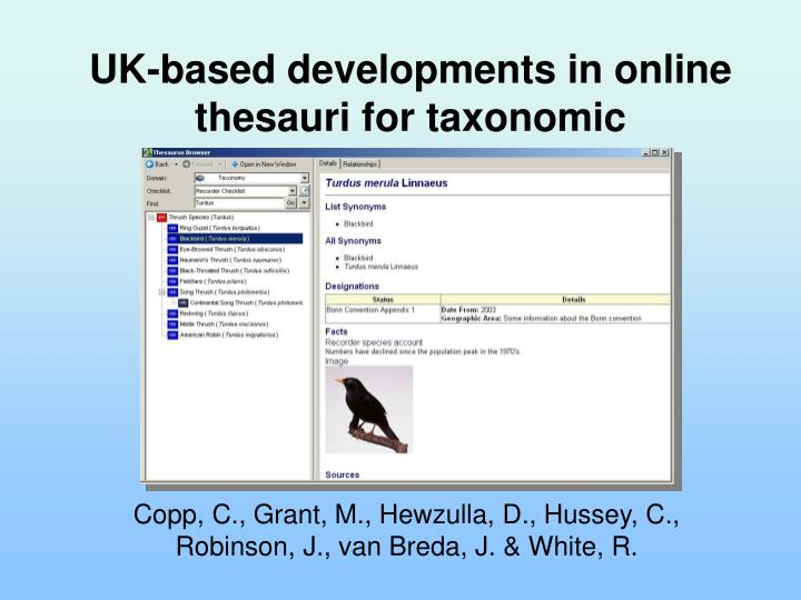 UK-based developments in online thesauri for taxonomic information