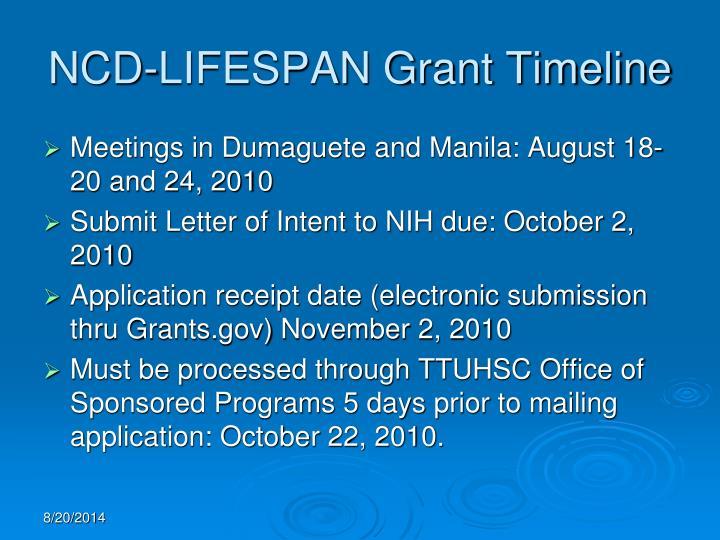 NCD-LIFESPAN Grant Timeline