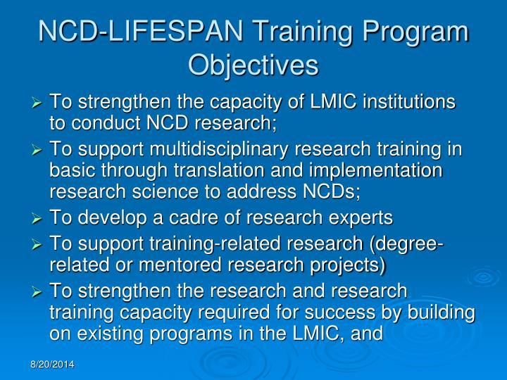 NCD-LIFESPAN Training Program Objectives
