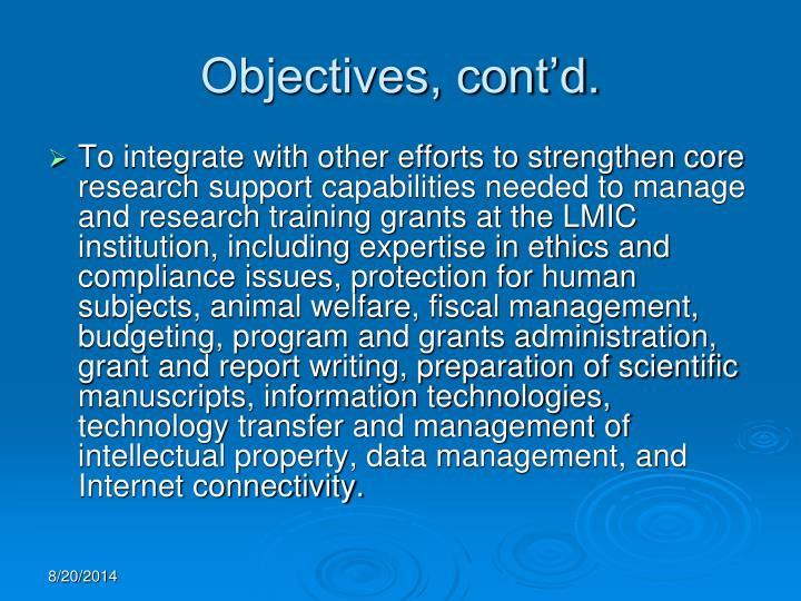Objectives, cont'd.