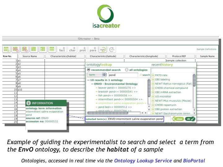 Example of guiding the experimentalist to search and select  a term from the