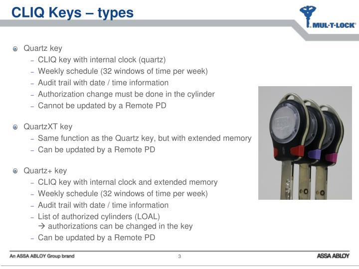 CLIQ Keys – types