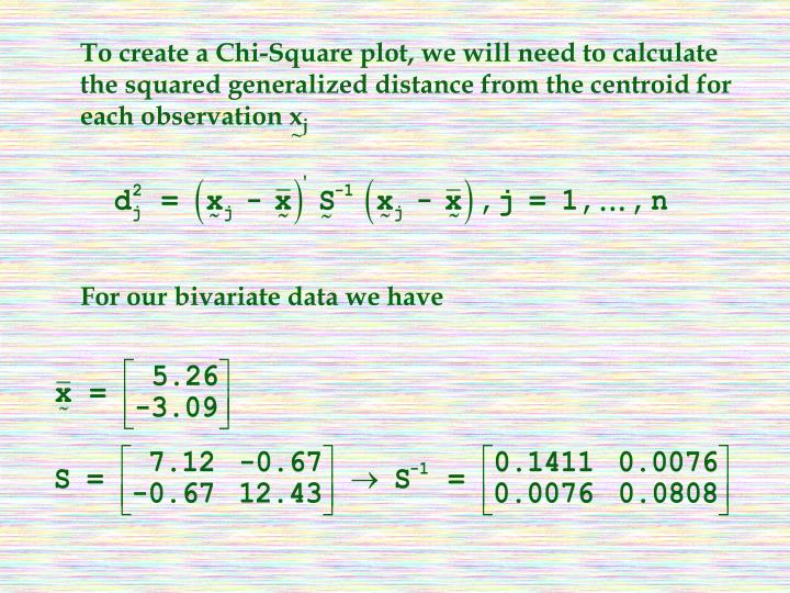 To create a Chi-Square plot, we will need to calculate the squared generalized distance from the centroid for each observation x