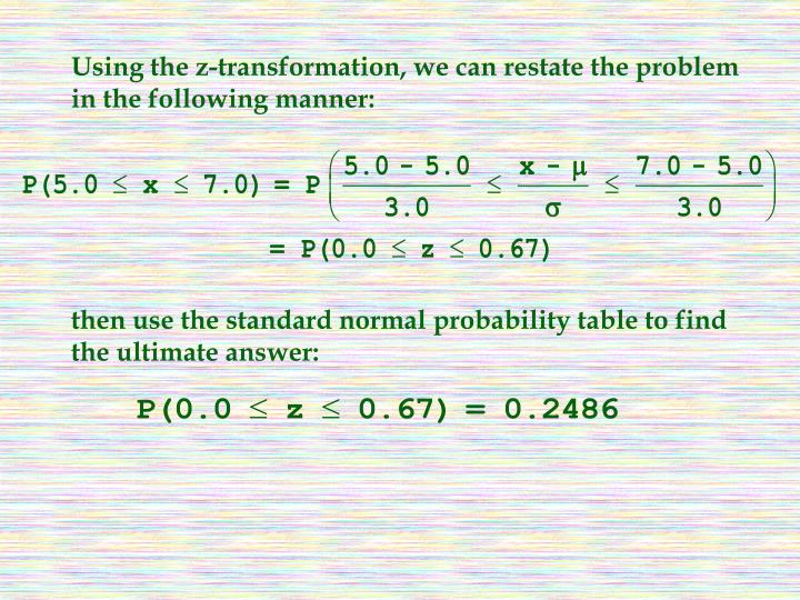 Using the z-transformation, we can restate the problem in the following manner:
