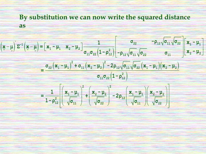 By substitution we can now write the squared distance as