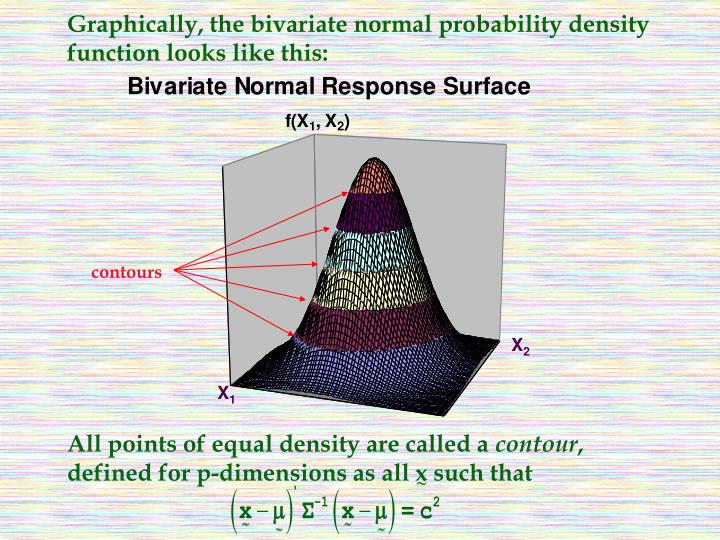 Graphically, the bivariate normal probability density function looks like this: