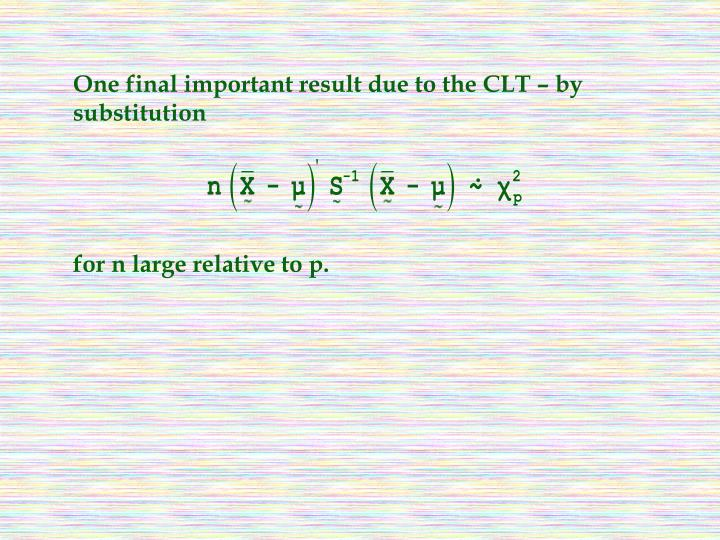 One final important result due to the CLT – by substitution