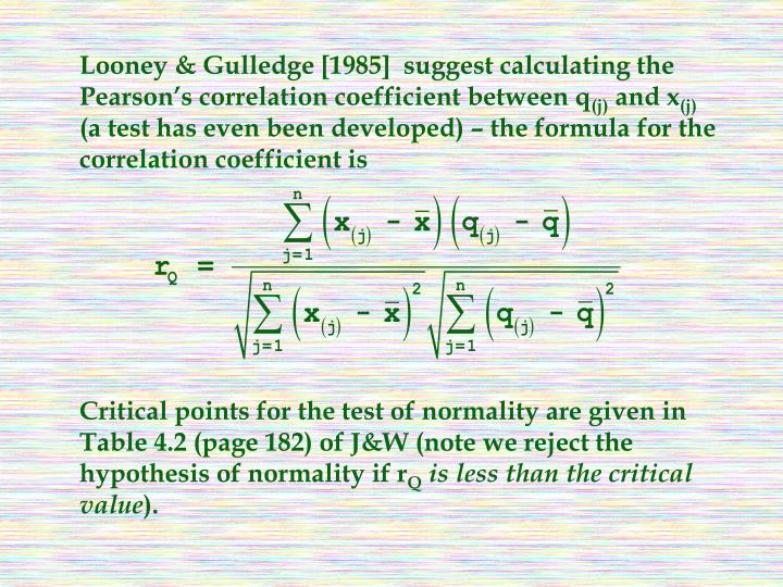 Looney & Gulledge [1985]  suggest calculating the Pearson's correlation coefficient between q