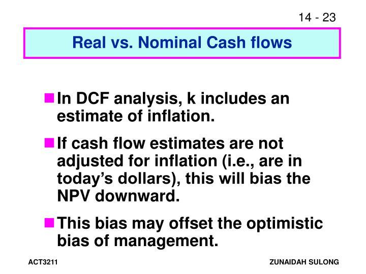 Real vs. Nominal Cash flows