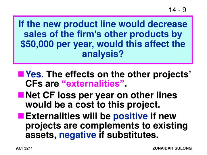 If the new product line would decrease sales of the firm's other products by $50,000 per year, would this affect the analysis?