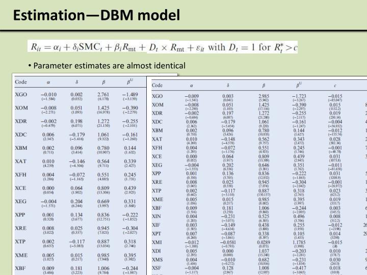 Estimation—DBM model