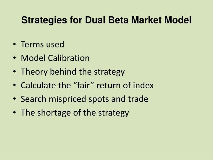 Strategies for Dual Beta Market Model