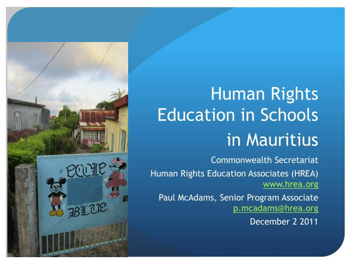 Human Rights Education in Schools in Mauritius