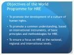 objectives of the world programme for hre