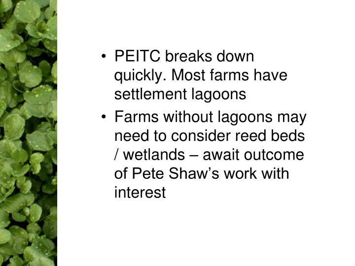 PEITC breaks down quickly. Most farms have settlement lagoons