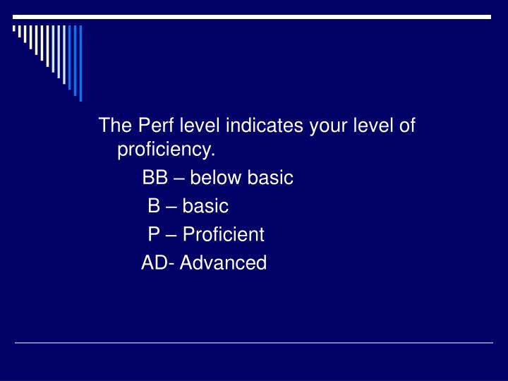 The Perf level indicates your level of proficiency.