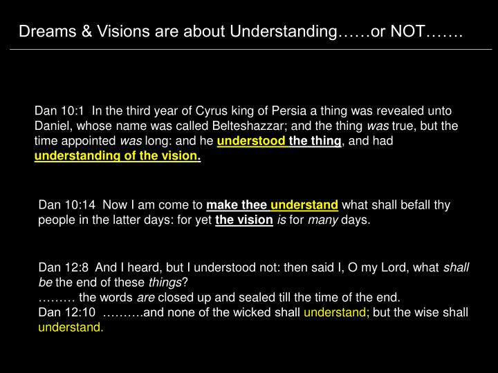 Dreams & Visions are about Understanding……or NOT…….