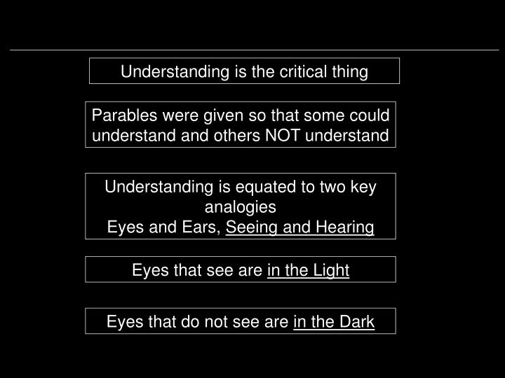 Understanding is the critical thing