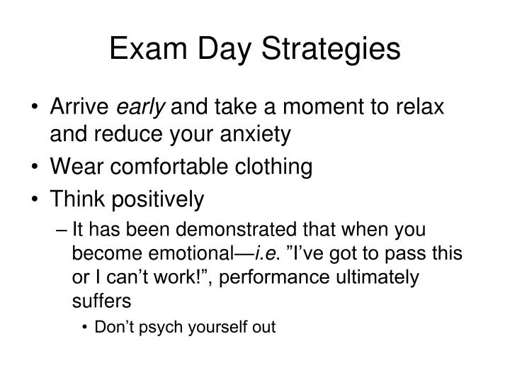 Exam Day Strategies