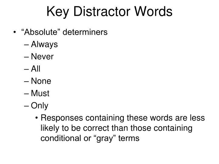 Key Distractor Words