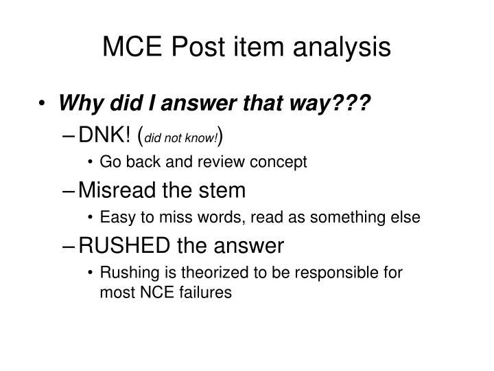 MCE Post item analysis