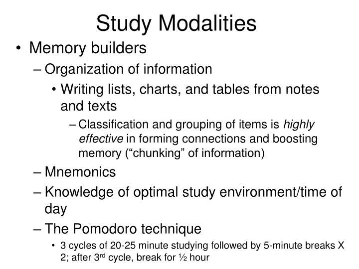 Study Modalities