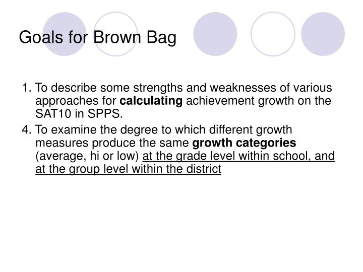 Goals for brown bag