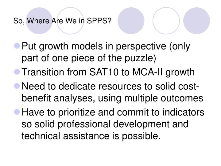So, Where Are We in SPPS?