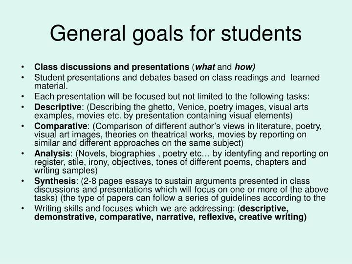 General goals for students